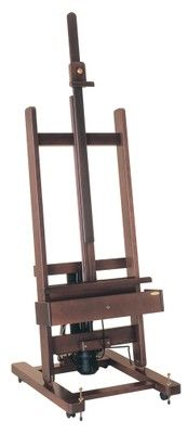 MABEF M/01 Studio Easel, Dark lacquer finish, electric-powered, Pedal operated + Remote Control